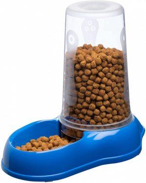 blauwe automatische katten voerbak